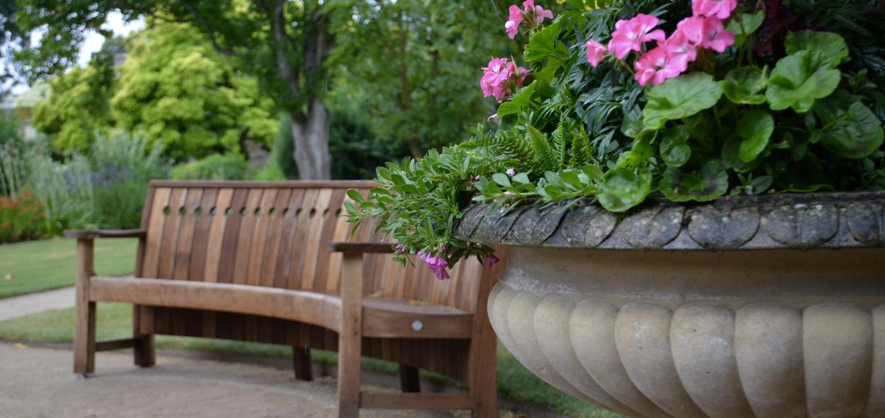 Decorative Pot and Bench