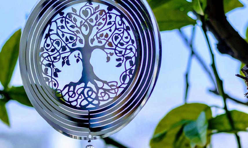 Chakra meditation, ornament hanging from tree photo by Lavi perchik unsplash